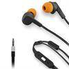 Muvit Auriculares Estéreo Cable Plano Negro/Naranja 3,5mm con micro y botón compatibilidad (almohadillas a