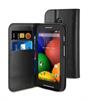 Funda Wallet Folio Negra Función Soporte y Tarjetero Motorola Moto E Muvit