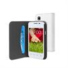 Funda Wallet Folio Blanca Función Soporte y Tarjetero LG L35 Muvit