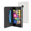 Funda Wallet Folio Blanca Función Soporte y Tarjetero Nokia Lumia 530 Muvit (carcasa transparente)