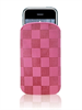 Puro Funda Nabuk Cuadros Rosa iPhone 4 3G S TOUCH 8520 9300