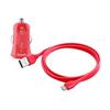 Mini Cargador de Coche Rosa 1 Amp + 1 puerto USB + Cable Plano 1m Lightning MFI Puro