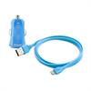 Mini Cargador de Coche Azul 1 Amp + 1 puerto USB + Cable Plano 1m Lightning MFI Puro