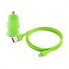 Mini Cargador de Coche Verde 1 Amp  + 1 puerto USB + Cable Plano 1m MFI Lightning Puro