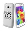 Funda Minigel Blanca Tacto Goma Sonríe Samsung Galaxy Core Prime Words