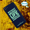 Funda TPU Tacto Goma Azul Without Music Wiko Pulp Words
