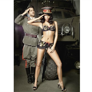 Baci Lingerie Baci Set 2pcs Top Y Falda Militar S/M Style 1305