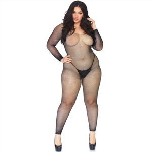 Leg Avenue Bodystocking En Red Con Brillante 1x-2x