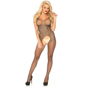 Leg Avenue Bodystocking Con Abertura Y Brillantes  T.U