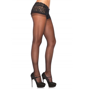 Leg Avenue Pantyhouse Negro Con Bordado Superior