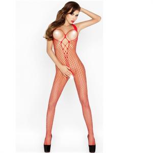 Passion Woman Bs014 Bodystocking Rojo Talla Unica