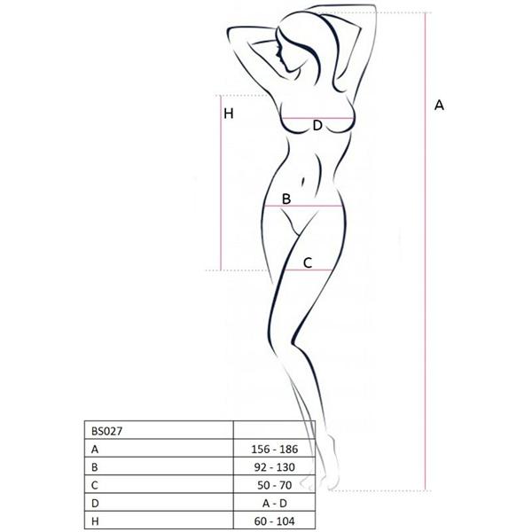 Passion Woman - Passion Woman Bs027 Bodystocking Estilo Vestido Negro Talla Unica