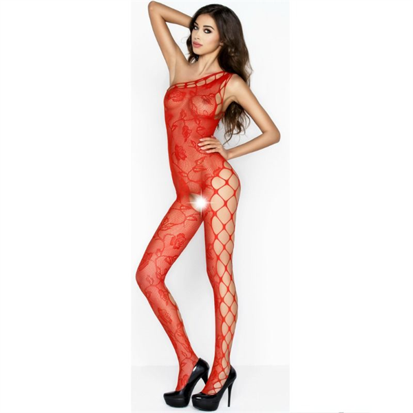 Passion Woman - Passion Woman Bs036 Bodystocking Rojo Talla Unica