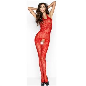 Passion Woman Bs037 Bodystocking Rojo Talla Unica
