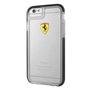 Ferrari - Funda TPU Shockproof Transparente Negra Apple iPhone 6/6S F errari