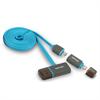 Cable USB Carga y Sincronización Azul Micro USB-Lightning + Puerto USB Fujipower