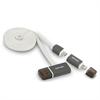 Cable USB Carga y Sincronización Blanco Micro USB-Lightning + Puerto USB Fujipower