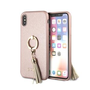 0a038098fc5 Carcasa rígida Saffiano con anillo soporte rosa para Apple iPhone X Guess