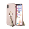 Carcasa rígida Saffiano con anillo soporte rosa para Apple iPhone X Guess