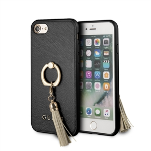 Guess - Carcasa rígida Saffiano con anillo soporte negro para Apple iPhone 8/7 Guess