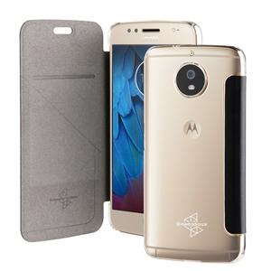 Made For Motorola - Funda Folio Negra parte Trasera Transparente Motorola Moto G5S Made for Moto
