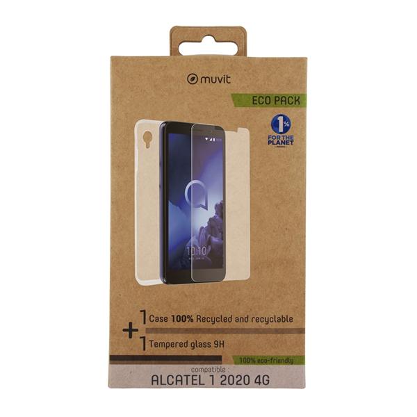 Muvit For Change - muvit for change pack Alcatel 1 2020 4G funda Cristal Soft +protector de pantalla vidrio templado pl