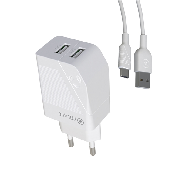 Muvit For Change - muvit for change pack transformador USB 2 puertos 2.4A + cable 1,2m tipo C blanco