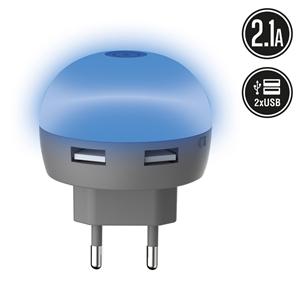 Muvit Life - Transformador USB Dual LED Azul 2.1A muvit Life