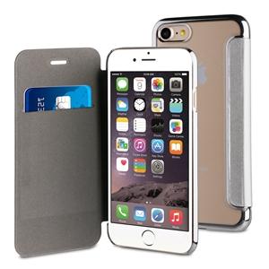 Muvit Life - Funda Transparente BLING FOLIO Plata con marco Plata Apple iPhone 7 muvit Life