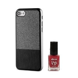 Muvit Life - Funda Ultrafina Negra ITNAIL +Laca de uñas Roja Apple iPhone 7 muvit