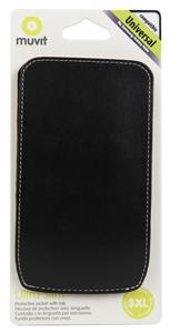 Muvit - Funda Negra Universal 3XL con tirador y trabilla para el cinturón (83x140x10mm) Muvit