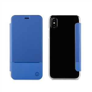 Muvit - Funda Folio Azul Doble PU parte trasera transparente Apple iPhone 8 muvit
