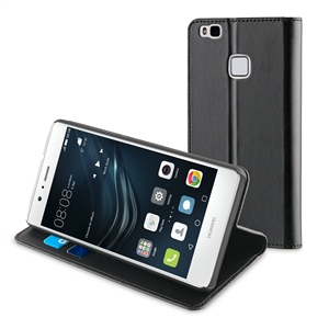 Muvit - Funda Folio Stand Negra Funcion Soporte y Tarjetero Huawei P9 Lite muvit