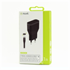 Muvit Pack Transformador USB Negro 1A + Cable Micro USB Reversible 1A 1m muvit