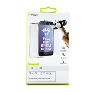 Muvit - Pack Crystal Soft Transparente+Tempered Glass 0,33mm ZTE A520 muvit