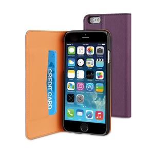 Muvit - Funda Slim Folio Función Soporte Lila/Negra iPhone 6 Muvit
