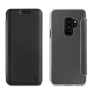 Muvit - Funda Folio Negra parte trasera Transparente Samsung Galaxy S9 Plus muvit