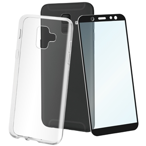 Muvit - muvit pack Samsung Galaxy A6 2018 funda Cristal Soft transparente + protector pantalla vidrio templa
