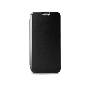 Puro - Funda Wallet Negra con Tarjetero y Trasera Negra Transparente Samsung Galaxy S7 Puro