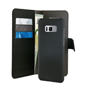 Puro - Funda Folio 2 en 1 Magnética Negra 3 tarjeteros + Billetero Samsung Galaxy S8 Plus Puro