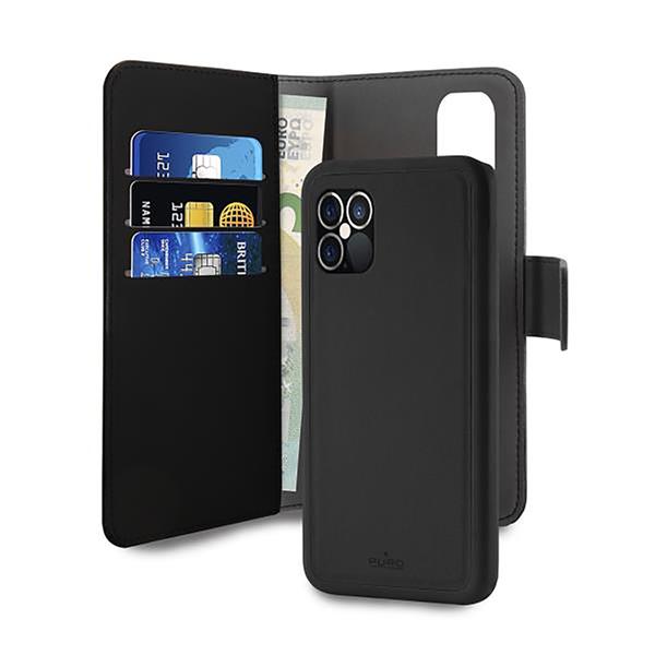 Puro - Puro funda piel Eco Apple iPhone 12/12 Pro + carcasa extraíble magnética negra