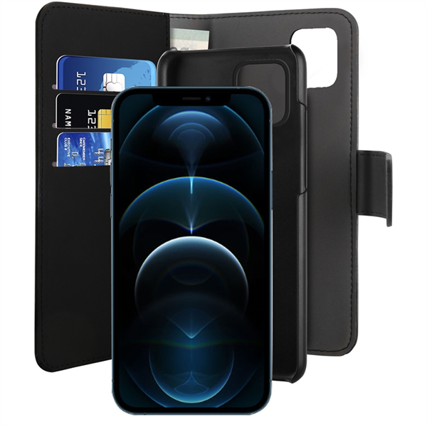 Puro - Puro funda piel Eco Apple iPhone 12 Pro Max + carcasa extraíble magnética negra