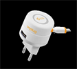 Transformador 1A con Cable Micro USB Retractil y Puerto USB Unplug
