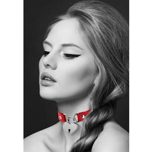 Bijoux Pour Toi  Collar Corazón Candado Negro Rojo