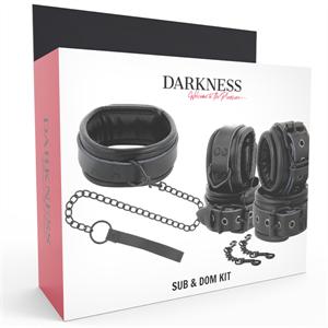 Darkness Esposas Y Collar De Cuero Negro