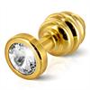 Diogol - Ano enchufe del extremo acanalado chapado en oro de 35 mm