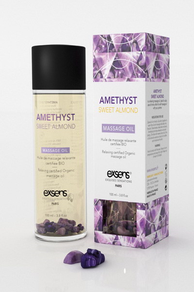 Exsens - Relaxing Oil With Organic Ingredientes And Stones Amethyst Sweet Almond 100 ml.