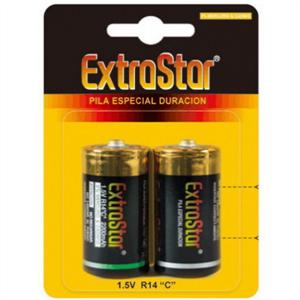 Extrastar Pilas Larga Duracion 1.5 V R14 C