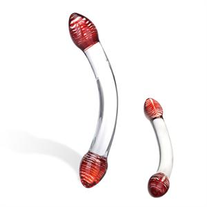 Glas - Glas - Red Head Doble consolador de vidrio