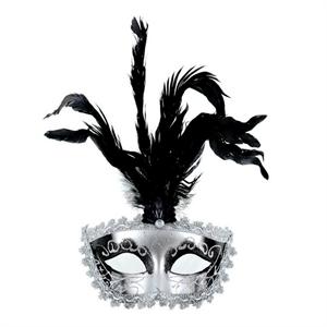 Mascaras Venecianas Mascara Veneciana Acabado Plata Plumas